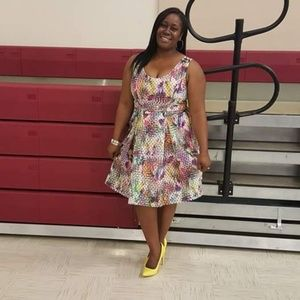 Multicolor fit and flare dress
